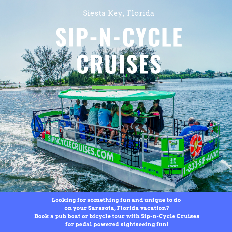 If you're visiting Siesta Key, Sarasota, or Venice, get together a group of friends or family and book yourself a place on a fun pedal-powered, party boat with Sip-N-Cycle Cruises. MustDo.com