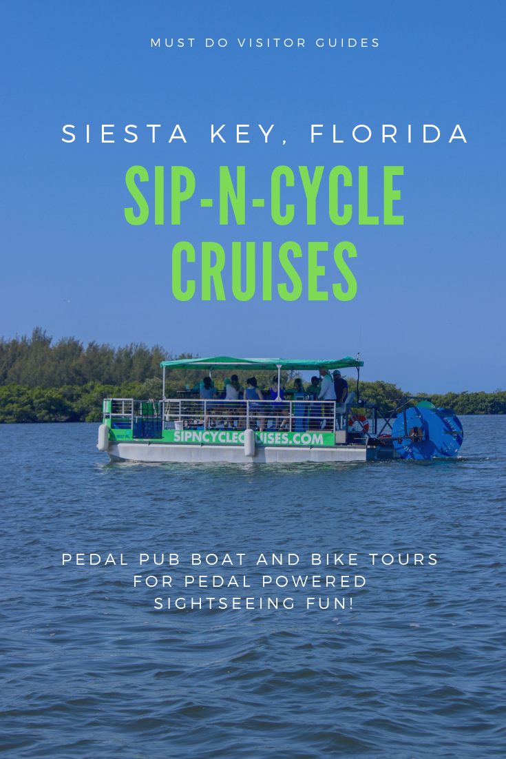If you're visiting Siesta Key, Sarasota, or Venice, get together a group of friends or family and book yourself a place on a fun pedal-powered, party boat with Sip-N-Cycle Cruises. Must Do Visitor Guides | MustDo.com.