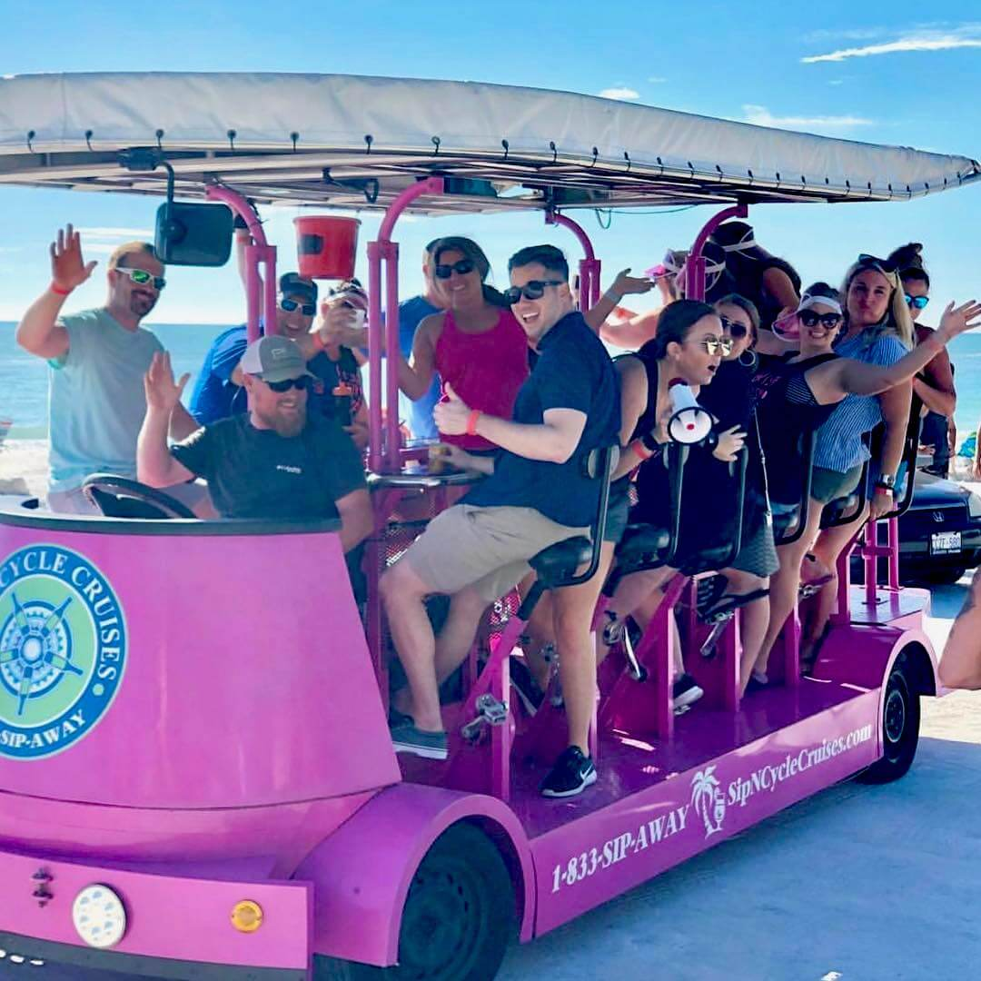 Sip-n-Cycle Cruises on Siesta Key, Florida offers pedal-powered street cruiser tours in Siesta Key Village. Must Do Visitor Guides | MustDo.com