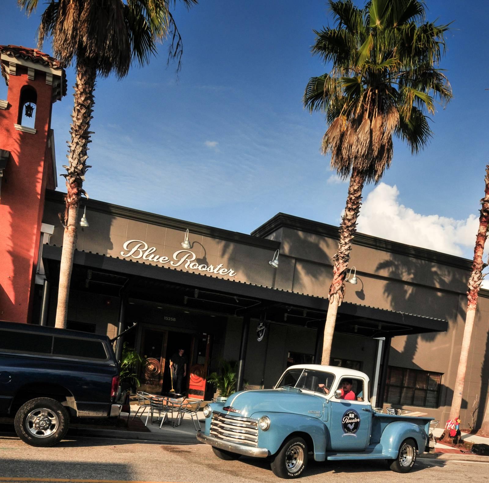 Exterior of the Blue Rooster bar restaurant downtown Sarasota, Florida.
