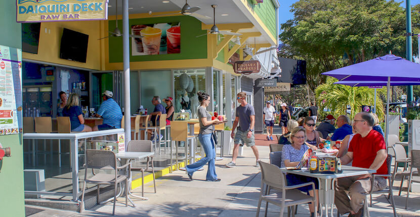 Daiquiri Deck restaurant dining. St. Armands Circle in Sarasota, Florida features more than 140 boutiques, specialty shops, galleries, and restaurants and is located just minutes from Lido Beach. Photo by Nita Ettinger. Must Do Visitor Guides | MustDo.com