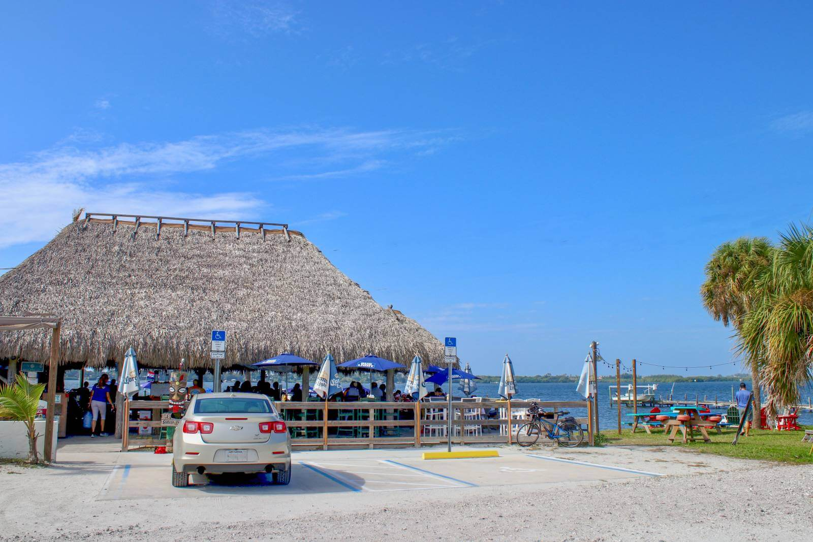 Evie's at Spanish Point casual waterfront restaurant and tiki bar Sarasota, Floirda. Must Do Visitor Guides, MustDo.com. Photo by Nita Ettinger