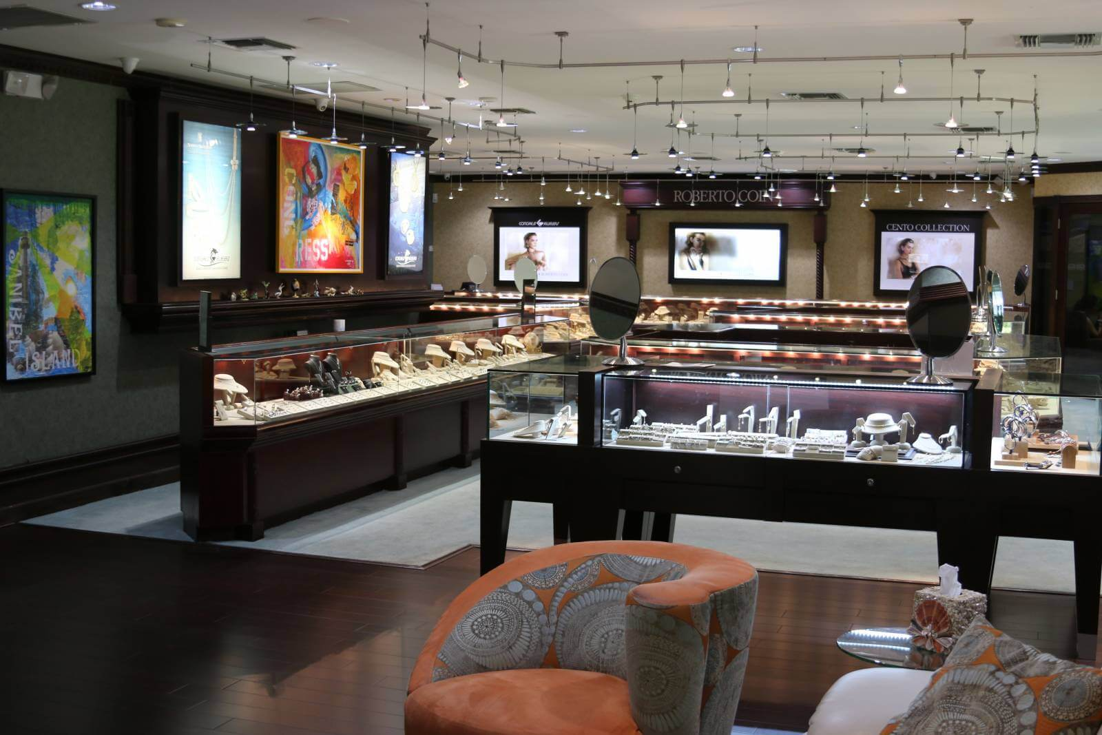 Jewelry store filled with designer and signature island-inspired fine jewelry paired with personalized service and quality workmanship at Congress Jewelers on Sanibel, Florida.