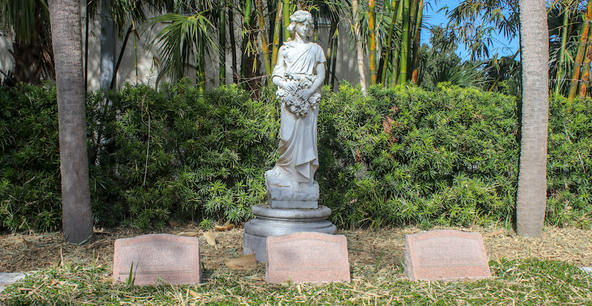 The grave markers of John, Mable, and Ida Ringling on the grounds of The Ringling in Sarasota, Florida, Photo by Nita Ettinger. Must Do Visitor Guides, MustDo.com