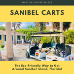 Golf cart parked at beach home. Sanibel Carts, the eco-friendly way to get around Sanibel Island, Florida! Must Do Visitor Guides