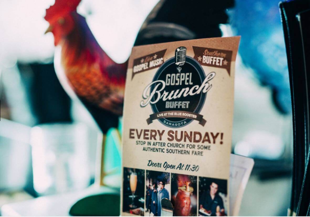 Gospel Brunch Buffet every Sunday at The Blue Rooster in Sarasota, Florida.