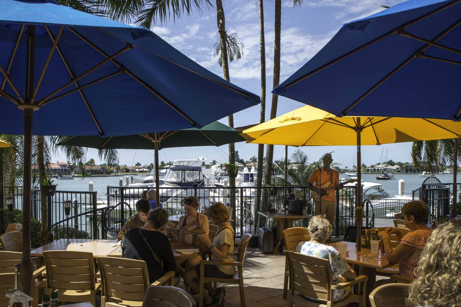 Casual waterfront dining at CJ's on the Bay Marco Island, Florida.