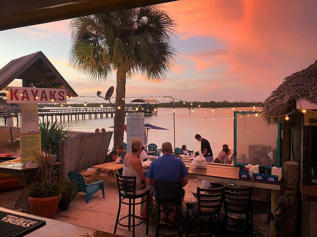 Sunset at casual Marco Island, Florida waterfront restaurant Capri Fish House.