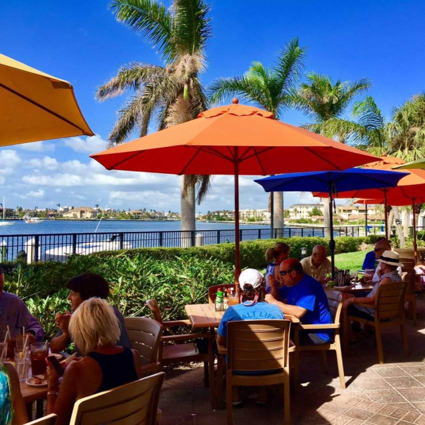 Casual waterfront dining at Mango's Dockside Bistro in Marco Island, Florida.