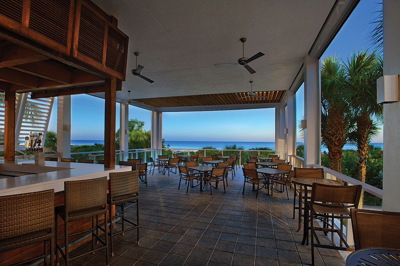 Waterfront dining and bar at Marriott's Crystal Shores Resort on Marco Island, Florida.