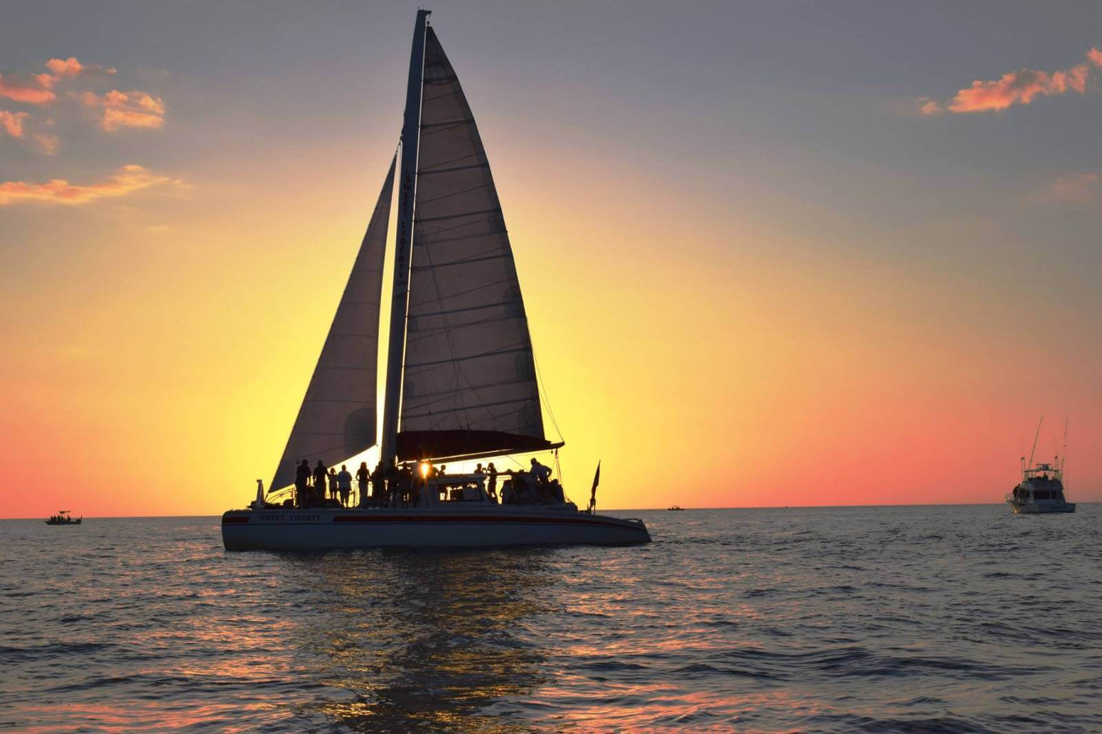 Sweet Liberty Sailing catamaran Naples, Florida sunset cruise.