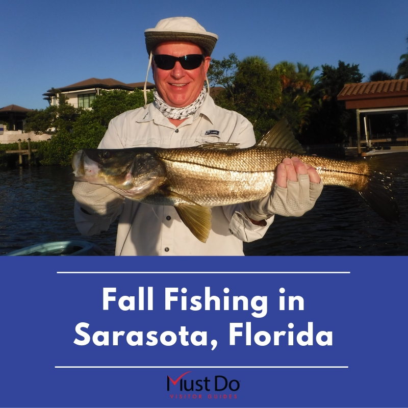 Man shows off his catch. Fall is an excellent time to visit Sarasota, Florida for a fishing trip. Here is where to fish and what you can expect to catch. Must Do Visitor Guides