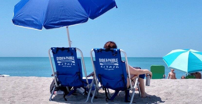 Beach chair, umbrella rentals from Ride & Paddle in Siesta Key, Florida