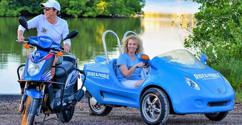 Scooters and Scooter-Car rental from Ride & Paddle in Siesta Key, Florida.