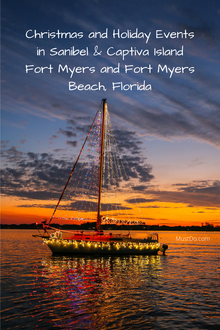Lighted boat parade at sunset. Christmas and Holiday Events in Sanibel & Captiva Island Fort Myers and Fort Myers Beach, Florida. | MustDo.com