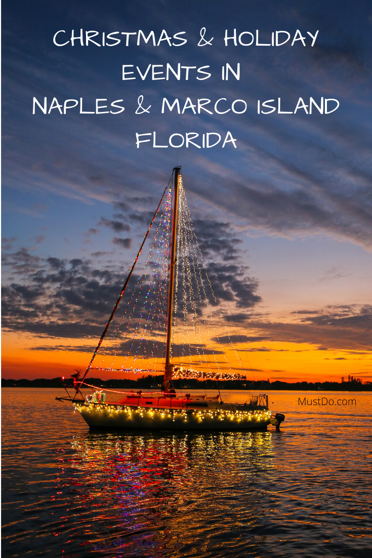 Lighted boat parade at sunset. Christmas & Holiday Events in Naples & Marco Island, Florida. MustDo.com