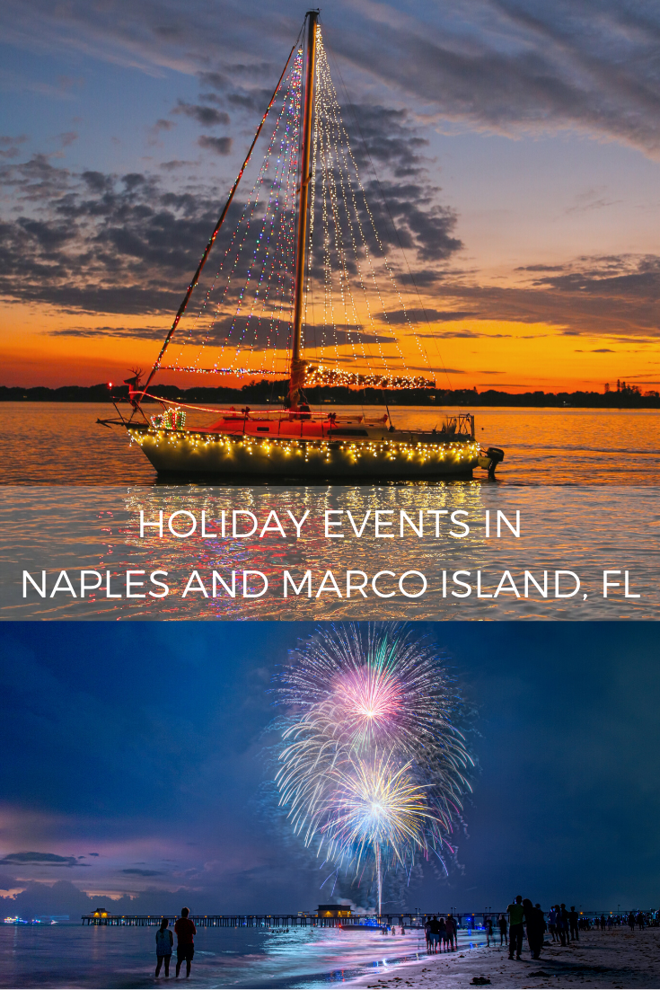 Lighted boat parade and fireworks over the Naples Pier. Holiday events in Naples and Marco Island, FL. Photo credit Jennifer Brinkman.