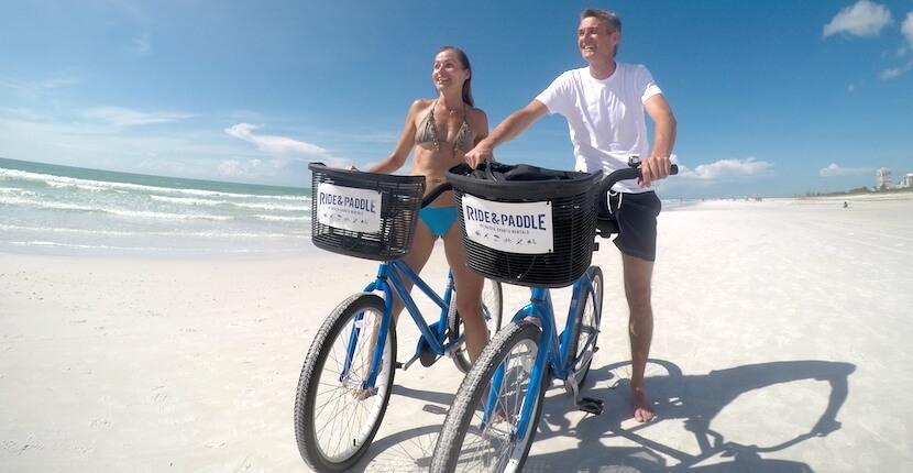 Siesta Key beach bike rental from Ride and Paddle sports rentals Sarasota, Florida.