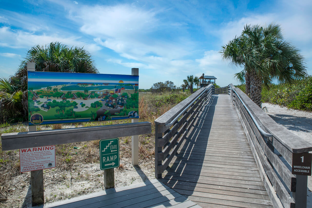 Boardwalk at Tigertail Beach on Marco Island, Florida.