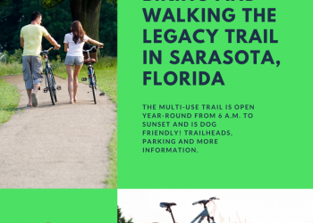 Biking and Walking the Legacy Trail in Sarasota, Florida. The multi-use trail is open year-round from 6 a.m. to sunset and is dog friendly. Trailheads, parking and more information. Must Do Visitor Guides | MustDo.com