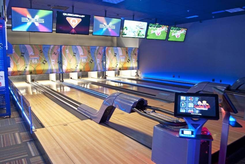 Bowling alley at GameTime Fort Myers family entertainment center, bar and restaurant in Fort Myers, Florida.
