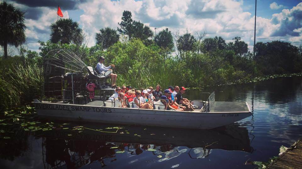 Big airboat tour group in Florida Everglades.