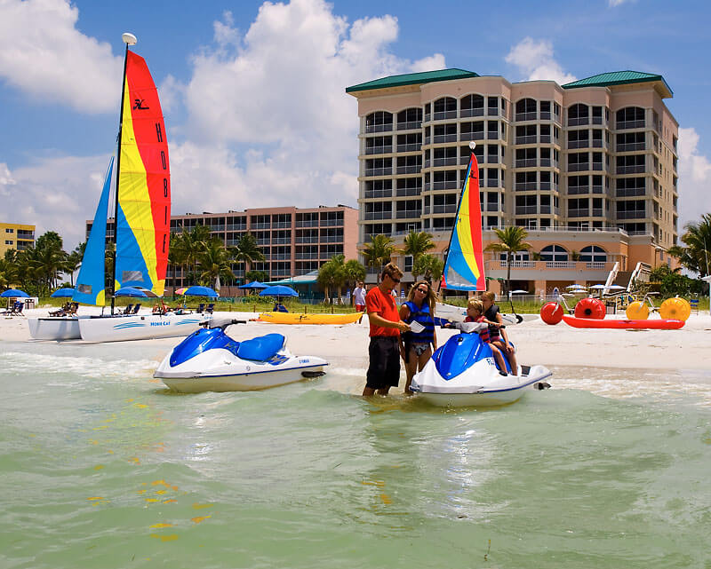 Jet ski, hobie cat, SUP boards and kayak rentals and other watersport activities Holiday Water Sports Fort Myers Beach, Florida.