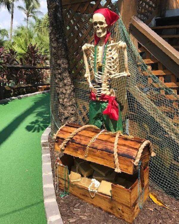 Pirate themed mini golf course Smugglers Cove Adventure Golf in Fort Myers Beach, Florida.