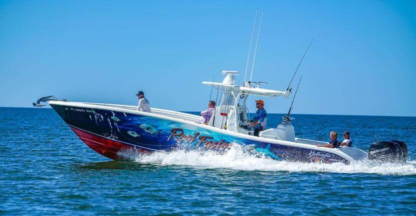 Sunshine Tours Marco Island offshore fishing charter Real Faster is a 36' foot Yellowfin boat outfitted with 900 hp, top of the line fishing gear, satellite radio/weather radar, and restroom facility on board. Rods, reels, bait, tackle, and ice are provided.