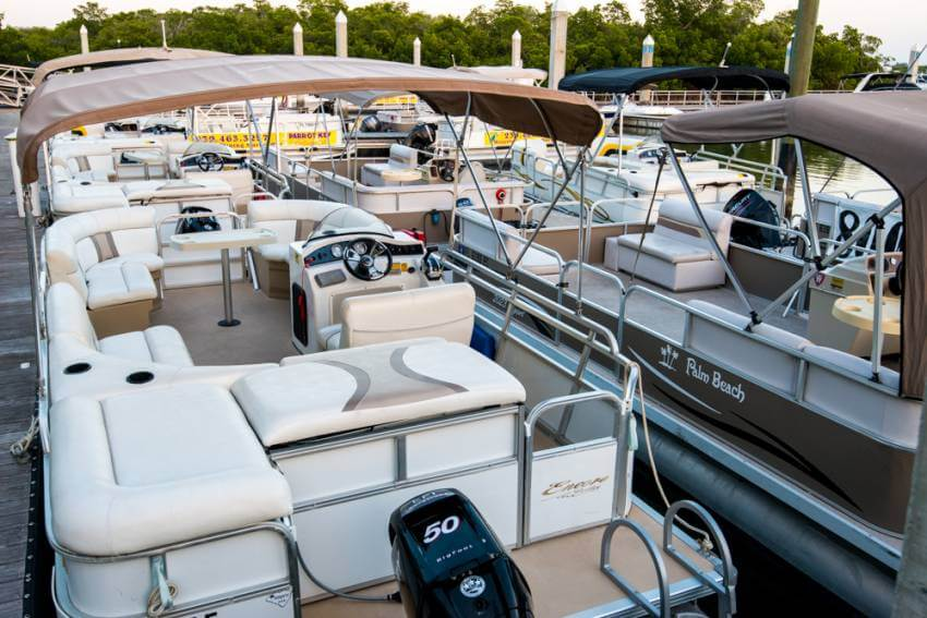 Boat rentals at Salty Sam's Marina in Fort Myers Beach, Florida.