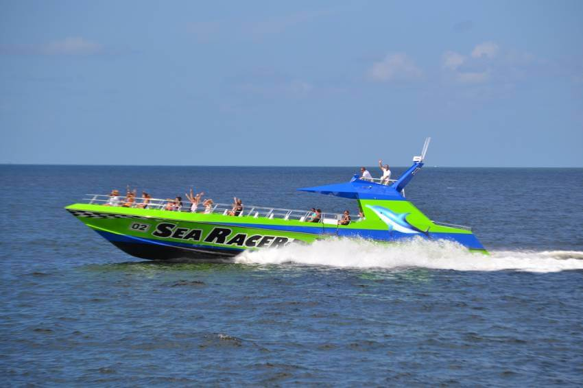 Race across the waters of Fort Myers Beach and Estero Island on a narrated, kid-friendly Sea Racer boat tour.
