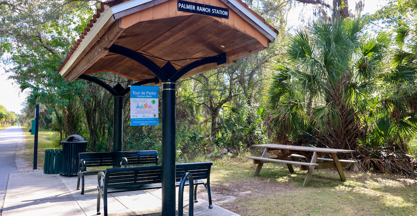 Shelter on The Legacy Trail paved multi-use recreational trail for biking, hiking in Sarasota and Venice, Florida. Photo by Nita Ettinger. Must Do Visitor Guides | MustDo.com