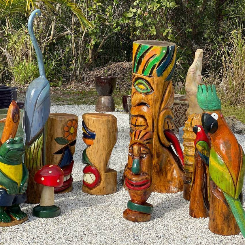 Wood carved sculpture Beach Pottery Etc. Fort Myers Beach, Florida.