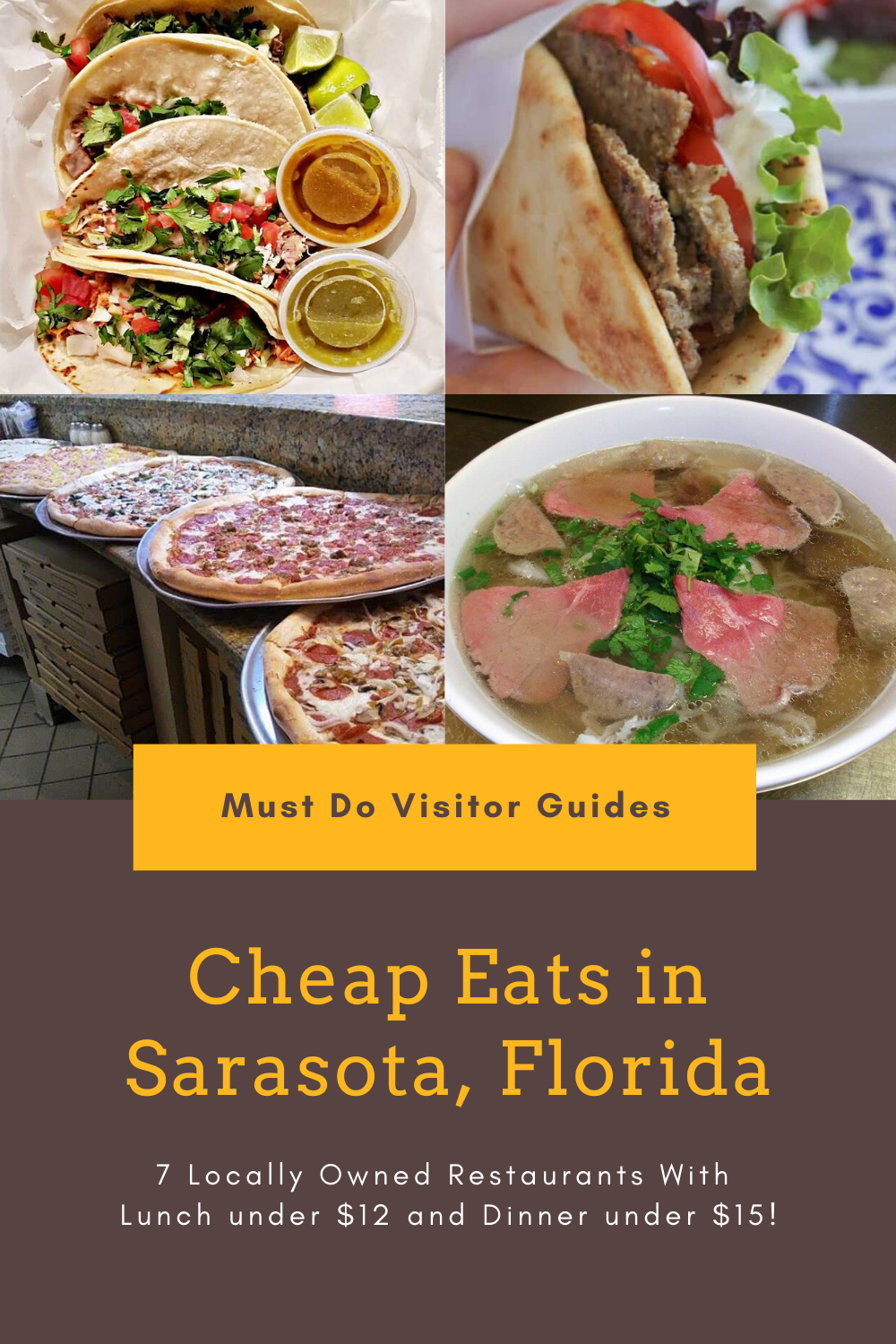 Cheap Eats in Sarasota, Florida. 7 Locally Owned Restaurants With Lunch under $12 and Dinner under $15! Must Do Visitor Guides | MustDo.com