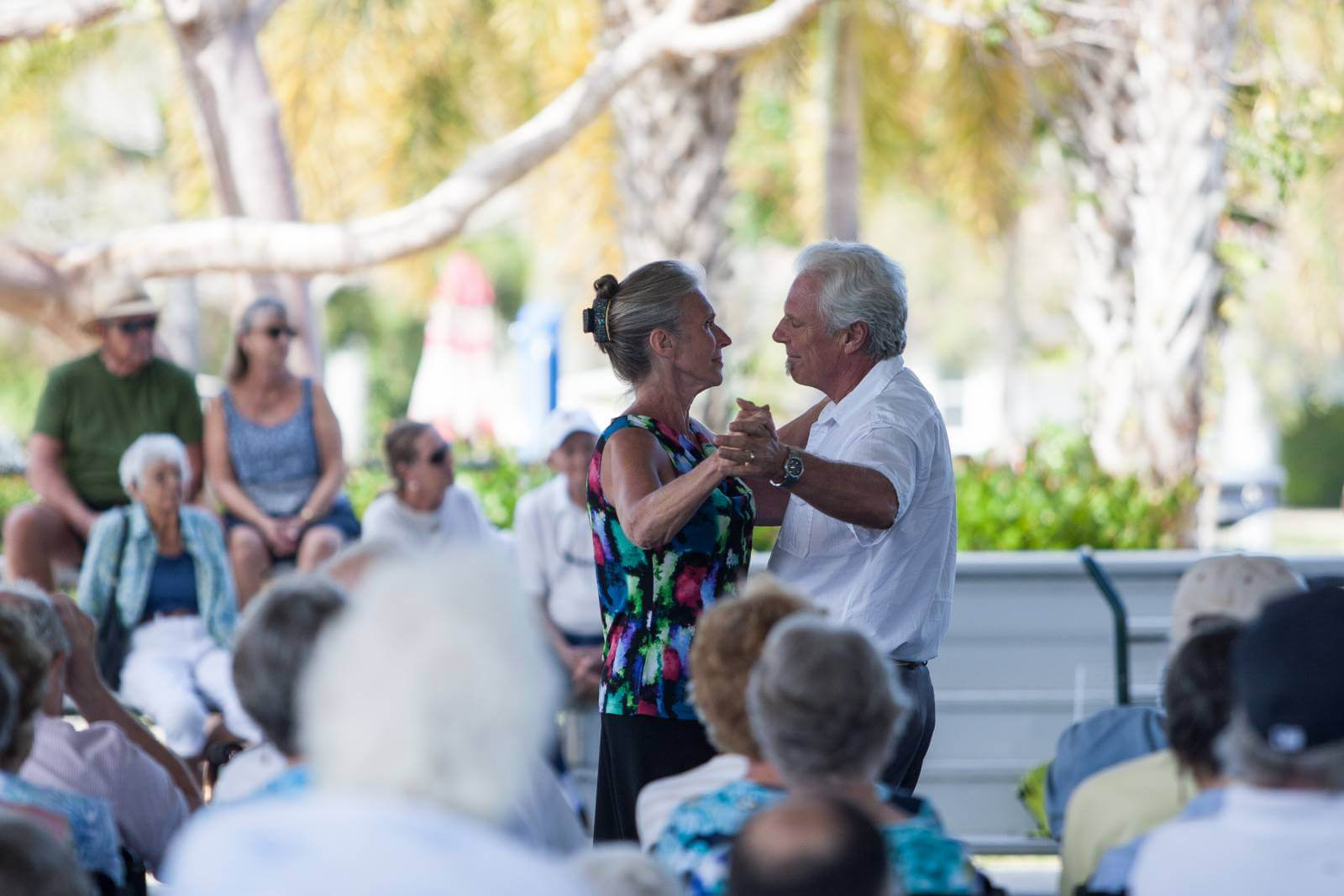 Couple dances at a free concert in Mackle Park on Marco Island, Florida. Photo by Mary Carol Fitzgerald. Must Do Visitor Guides | Mustdo.com