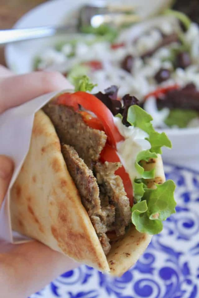 Cheap Eats in Sarasota - Gyro wrap and greek salad at Sahara Cafe & Mediterranean Foods in Sarasota, Florida. Must Do Visitor Guides | MustDo.com