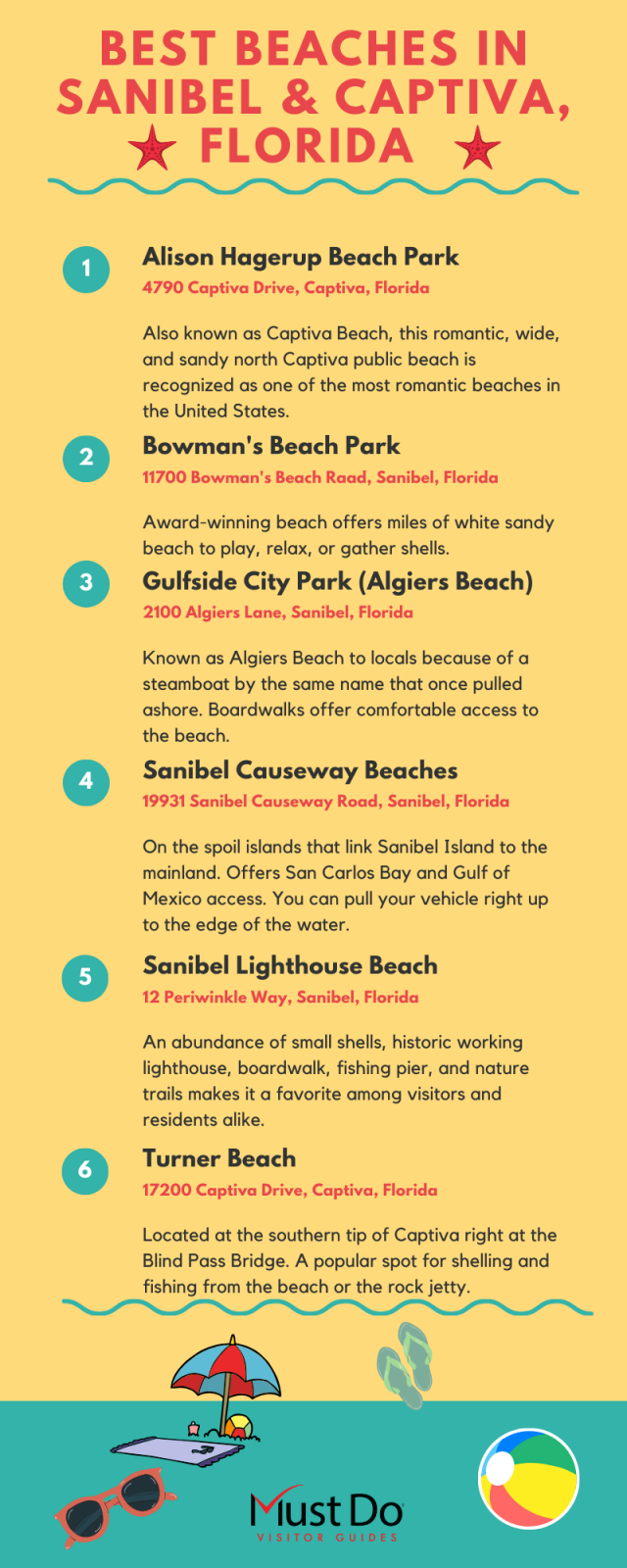 Best Beaches in Sanibel and Captiva Florida infographic. Must Do Visitor Guides | MustDo.com