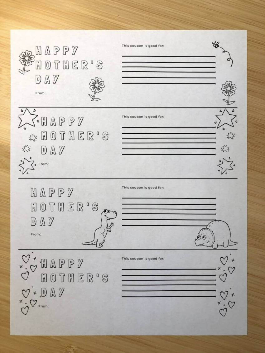Happy Mother's Day coupon template for children to download, print and color. Must Do Visitor Guides
