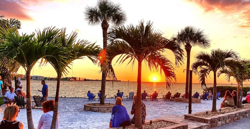Relaxing sunset views from the vacation rental villas at Fishermen's Village in Punta Gorda, Florida.