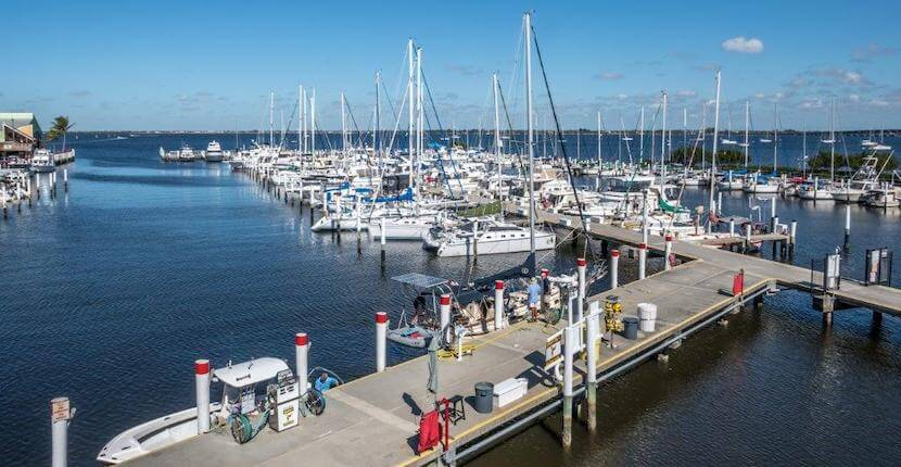 Full service marina and boat docks at Fishermen's Village Resort in Punt Gorda, Florida