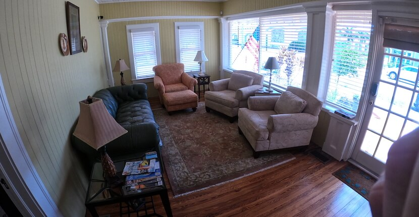 Living room at The historic Hibiscus House Bed and Breakfast in downtown Fort Myers, Florida offers smoke-free, well-appointed guest-rooms, each with a private bath, private entrance, and free Wi-Fi access. Must Do Visitor Guides | MustDo.com