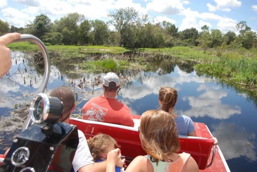 Peace River Charters airboat tour on the Peace River near Sarasota, Florida