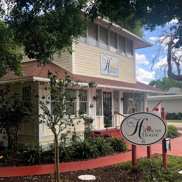 Exterior of The Hibiscus House Bed and Breakfast downtown Ft. Myers, Florida.