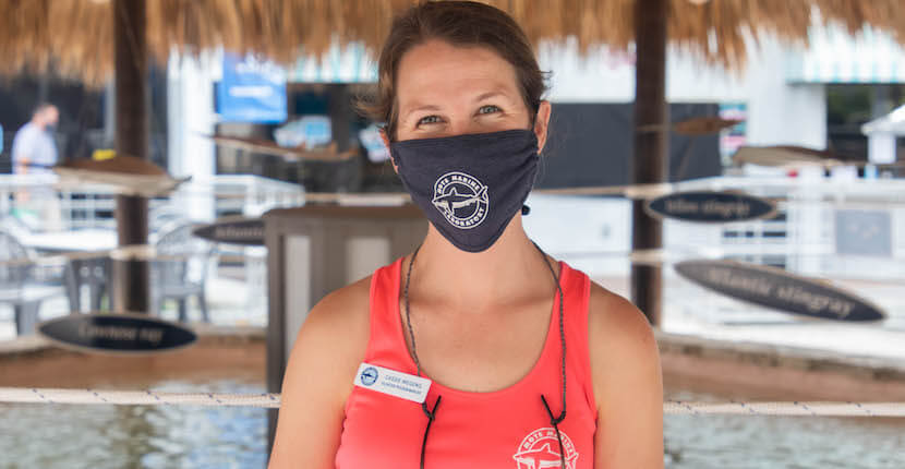 Mote Aquarium employee with mask.
