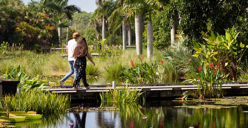 Families can experience a full day of fun built around Florida's natural ecosystems in the interactive Smith Children's Garden at the Naples Botanical Garden in Naples, Florida.