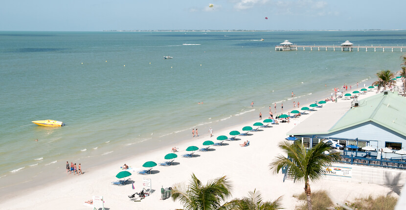There are more than 30 public beach access points to Fort Myers Beach, Florida.