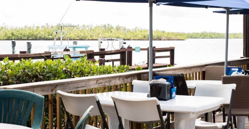 Waterfront dining at the Crabby Lady restaurant in Goodland, Florida near Marco Island.