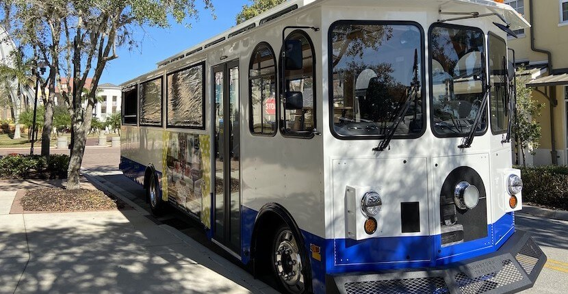 Enjoy a free 45-minute sightseeing trolley tour of Ave Maria, near Naples., Florida.