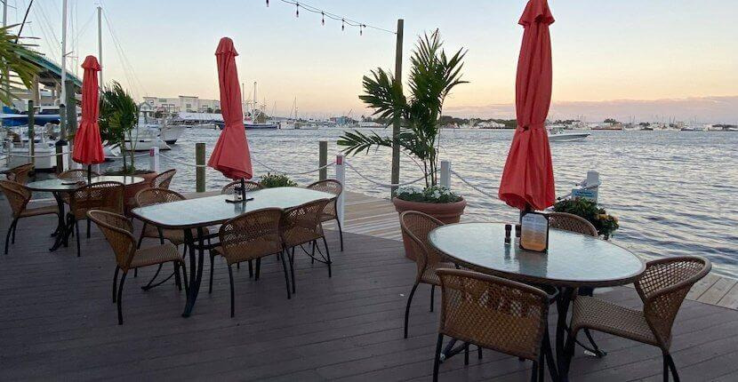 Dine indoors or outside on the expansive deck overlooking Estero Bay at Matanzas on the Bay restaurant in Fort Myers Beach, Florida.