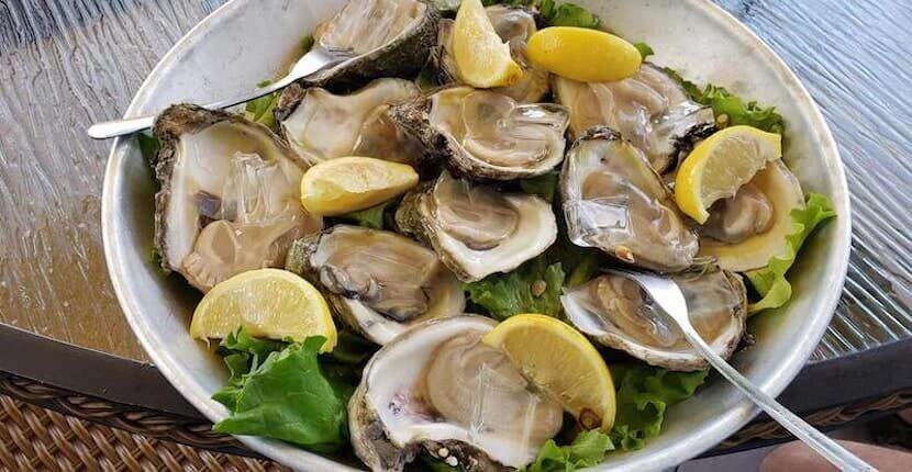 Fresh raw oysters at Matanzas on the Bay restaurant in Fort Myers Beach, Florida.